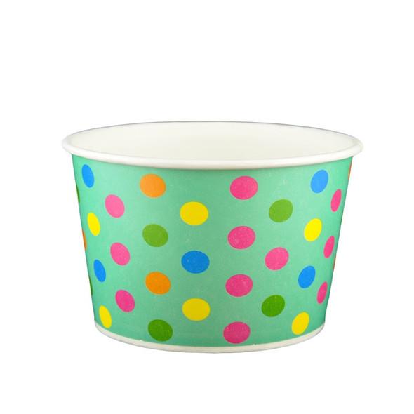 24oz Ice Cream/Froyo Cups 142mm 600ct Aqua/Multicolor Polka Dot