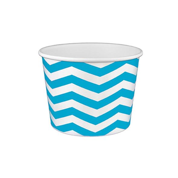 16oz Ice Cream/Froyo Cups 112mm 1000ct Chevron White/Blue