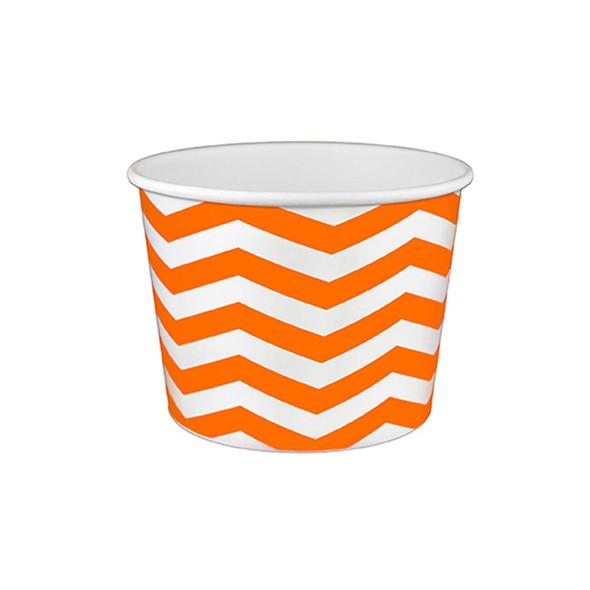 16oz Ice Cream/Froyo Cups 112mm 1000ct Chevron White/Orange