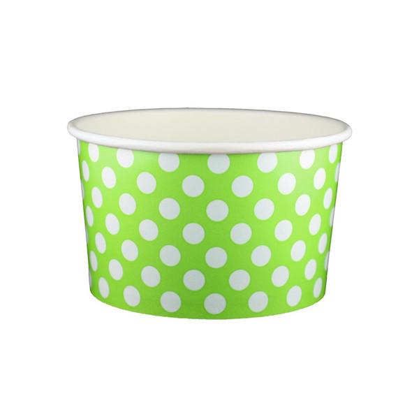 20oz Ice Cream/Froyo Cups 600ct 127mm Green Polka Dot