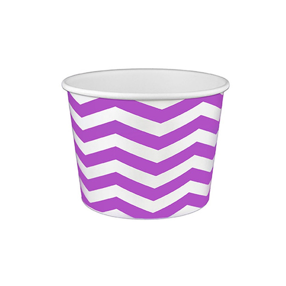 16oz Ice Cream/Froyo Cups 112mm 1000ct Chevron White/Purple