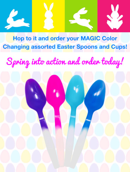 MAGIC Color Changing® Med Spoon Pastel Mix 1000ct (Easter Mix)