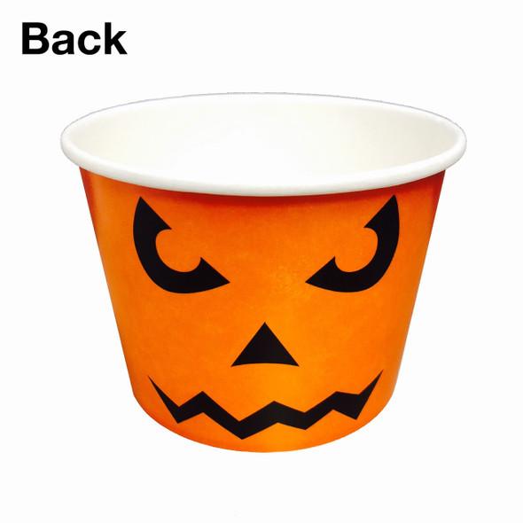 Halloween 16oz Ice Cream / Froyo Paper Cups 112mm 1000ct Orange Jack-O-Lantern