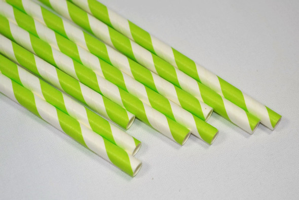 8mm Wide White with Green Stripe Colored Paper Straws 1000 Count - Unwrapped