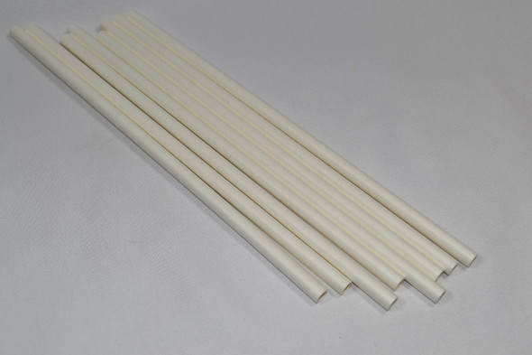 8mm Wide White Paper Straws 1000 Count - Unwrapped