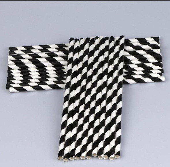 8mm Wide White with Black Stripe Colored Paper Straws 1000 Count - Unwrapped