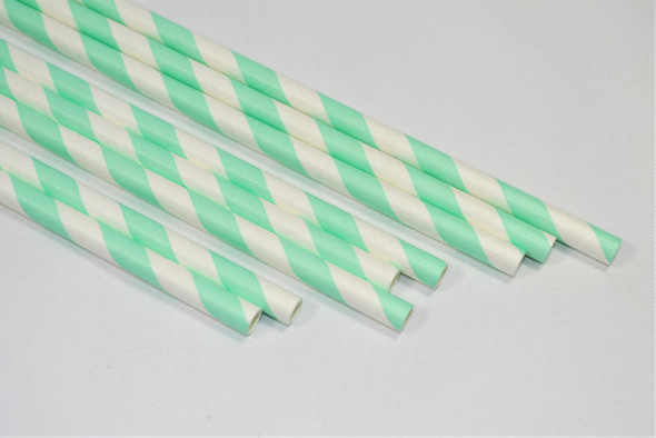 10mm Wide White with Mint Stripe Colored Paper Straws 1000 Count - Unwrapped
