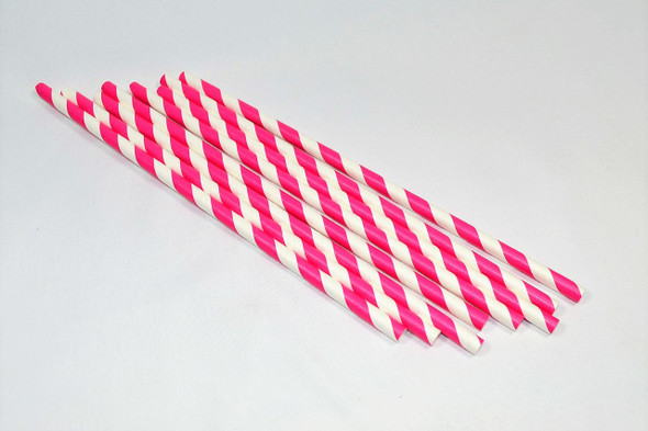 10mm Wide White with Pink Stripe Colored Paper Straws 1000 Count - Unwrapped
