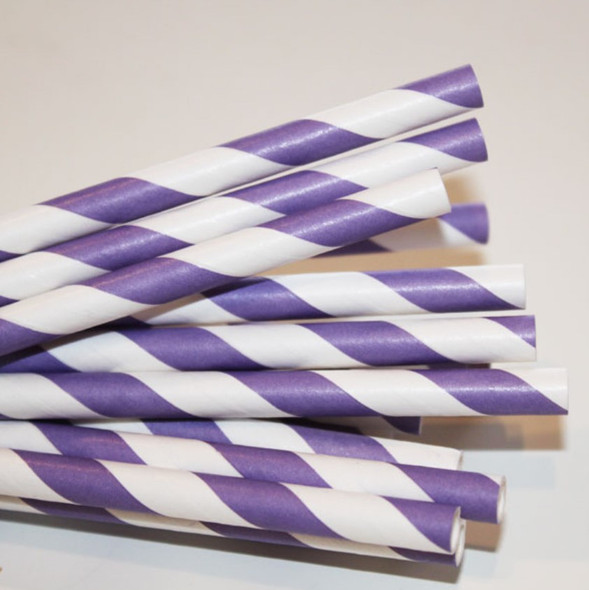 10mm Wide White with Purple Stripe Colored Paper Straws 1000 Count - Unwrapped