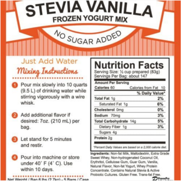 Nanci's Soft Serve Mix -Vanilla Powder Base Mix Stevia No Sugar Added