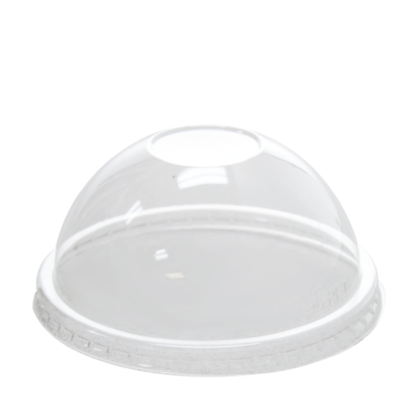96mm Rim PET Food Container Dome Lid No Hole 1000ct - Frozen Solutions