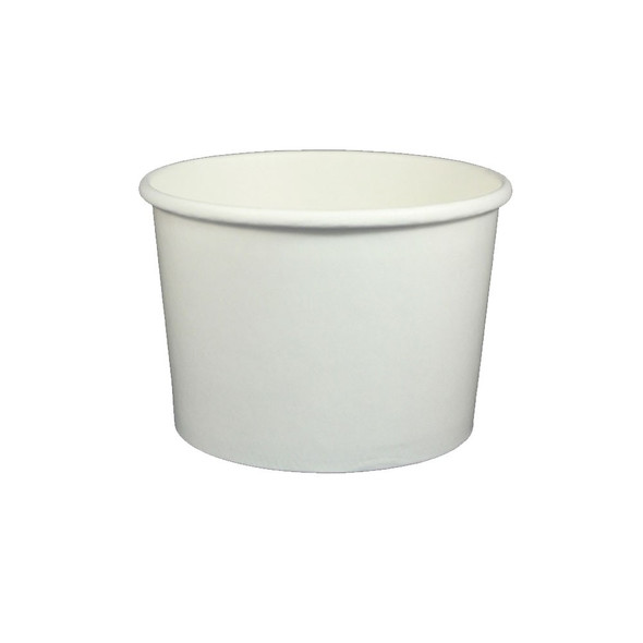16oz White Ice Cream / Froyo Paper Cups 112mm 1000ct