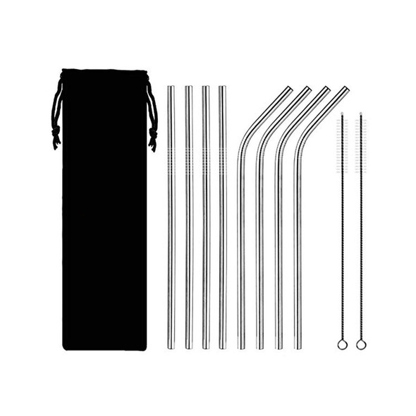Set of 8 reusable stainless steel drinking straws with pouch