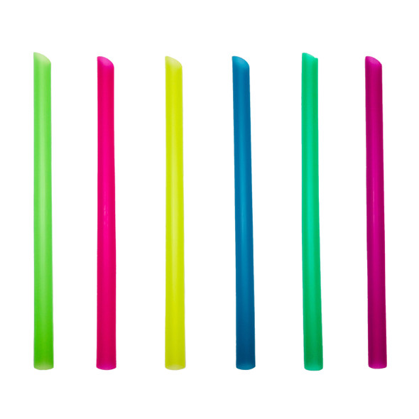 Angle Cut Wrapped Boba Straw 1800ct Assorted Colors 12 mm