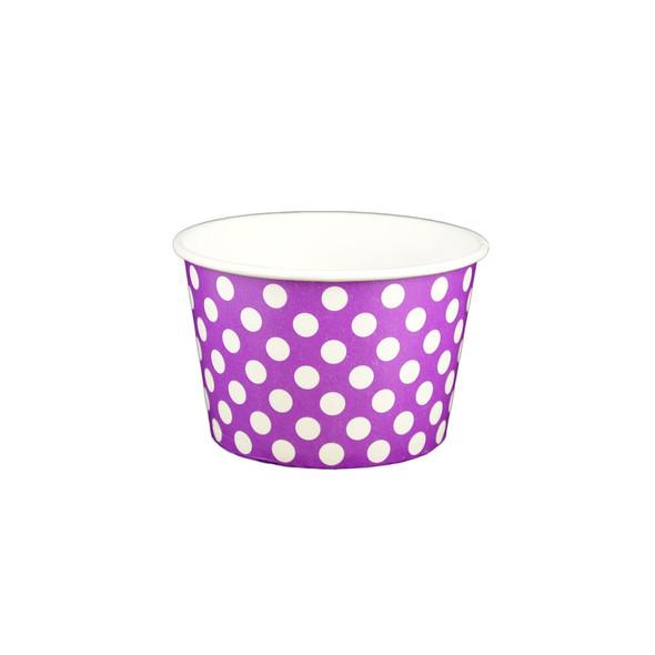 6oz Ice Cream/Froyo Cups 96mm 1000ct Purple Polka Dot
