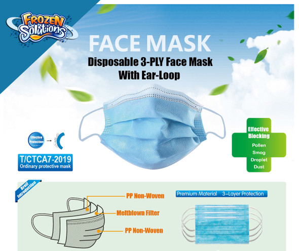 3-Ply Face Mask with Elastic Ear Loop - 50 pcs SHIPPING INCLUDED