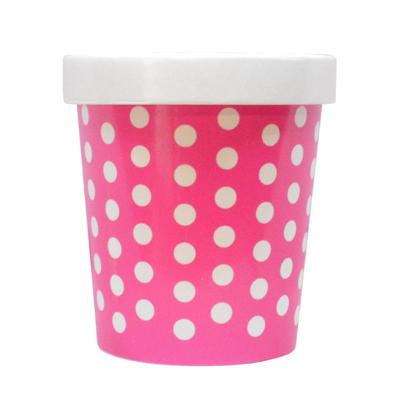16oz Pink Polka Dot PINT containers with non-vented lids Made In The USA