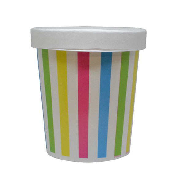 16oz Multi Color Stripe PINT containers with non-vented lids Made In The USA