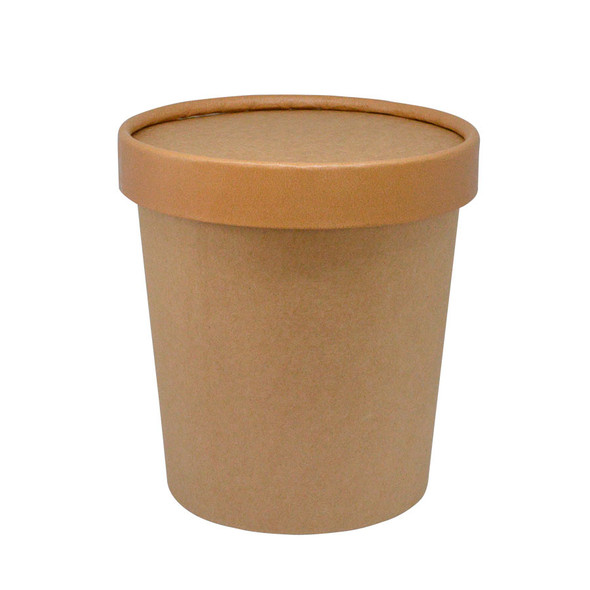 16oz Kraft To Go Pint Containers 250ct With Matching Non Vented Lids