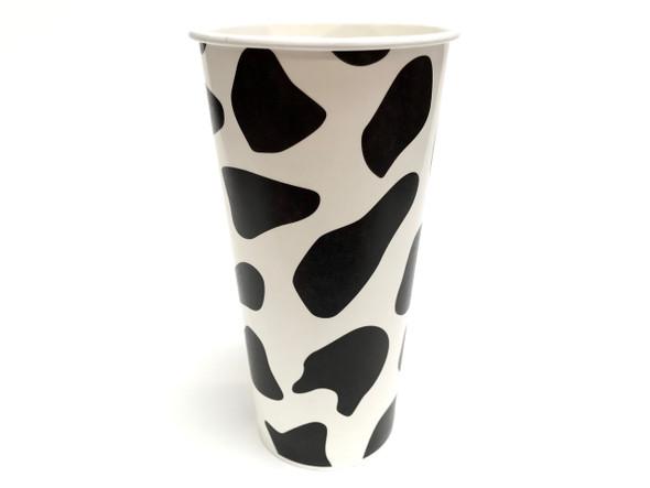 22oz Cow Print Paper Milkshake Drink Cups 90mm 1000ct
