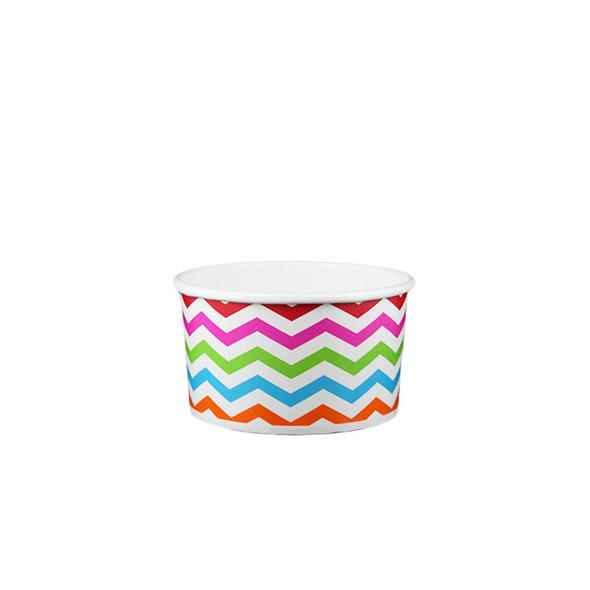6oz Ice Cream/Froyo Cups 96mm 1000ct Chevron Multicolor