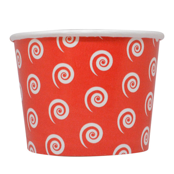 12oz Swirl & Twirl Ice Cream Cups - Red - Made In The USA, 1000ct