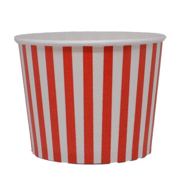 12oz Red Stripes Ice Cream Cups - Made In The USA, 1000ct