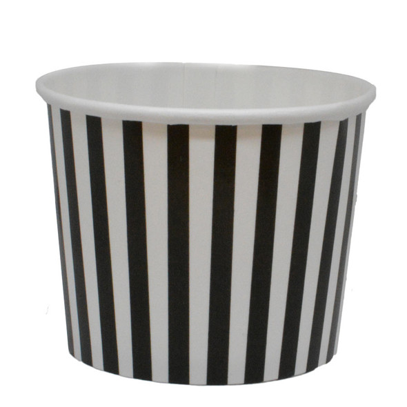 12oz Black Stripes Ice Cream Cups - Made In The USA, 1000ct