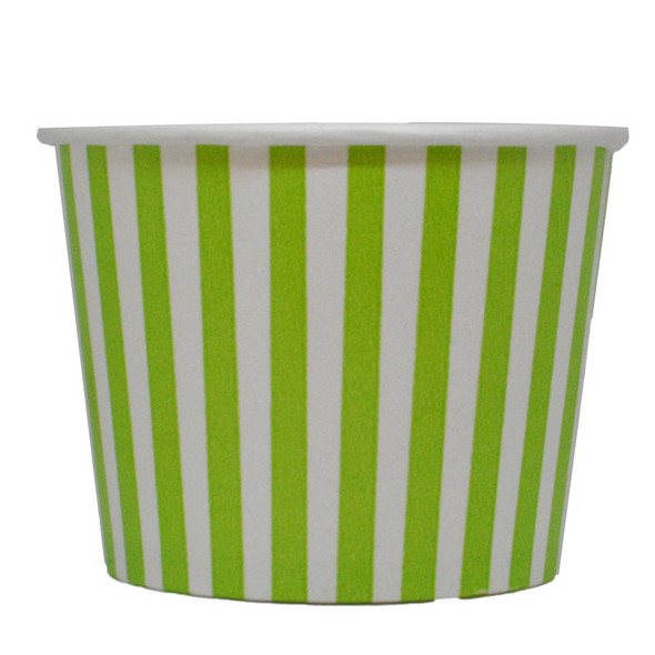 12oz Green Stripes Ice Cream Cups - Made In The USA, 1000ct
