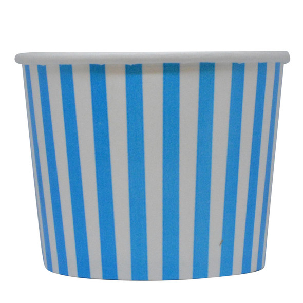 16oz Blue Stripes Ice Cream Cups - Made In The USA, 1000ct