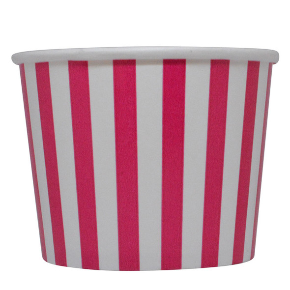 16oz Pink Stripes Ice Cream Cups - Made In The USA, 1000ct