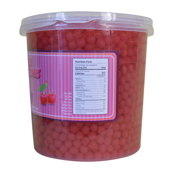 Boba Solutions Popping Boba - Cherry Flavor, Case Of 4