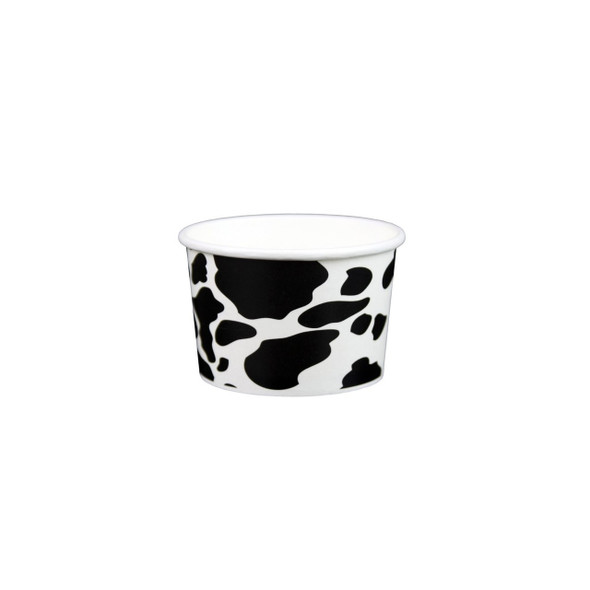 4oz Dairy Cow Print Ice Cream/Froyo Cups 76mm 1000ct, Made In The USA
