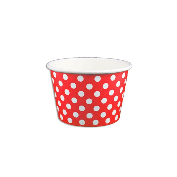 8oz Ice Cream/Froyo Cups 96mm 1000ct Red Polka Dot