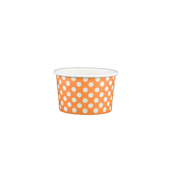 4oz Ice Cream/Froyo Cups 76mm 1000ct Orange Polka Dot, Made In The USA