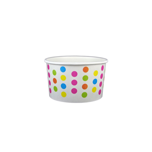 4oz Ice Cream/Froyo Cups 76mm 1000ct White/Multicolor Polka Dot, Made In The USA - Ideal for Ice Cream Shops, Froyo, Boba, Gelato Shops and Restaurants