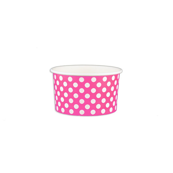 5oz Ice Cream/Froyo Cups 87mm 1000ct Pink Polka Dot, Made In The USA- Ideal for ice cream shops, froyo, boba, gelato shops and restaurants