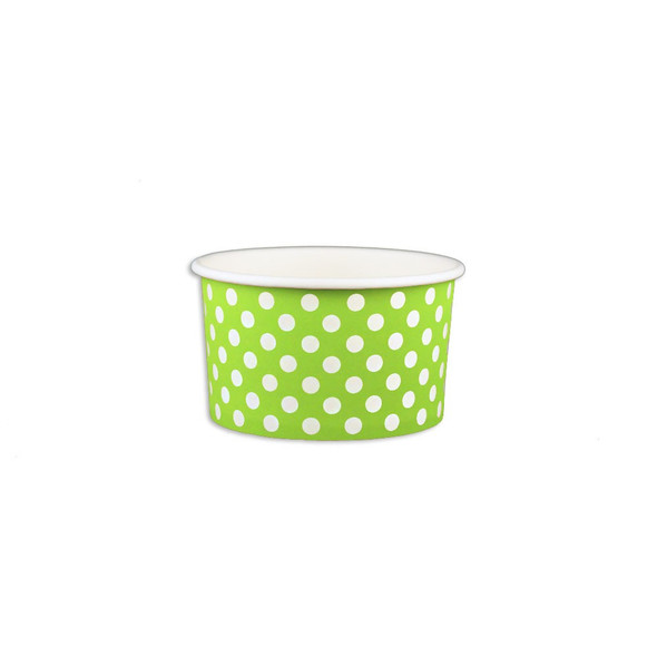 5oz Ice Cream/Froyo Cups 87mm 1000ct Green Polka Dot, Made In The USA