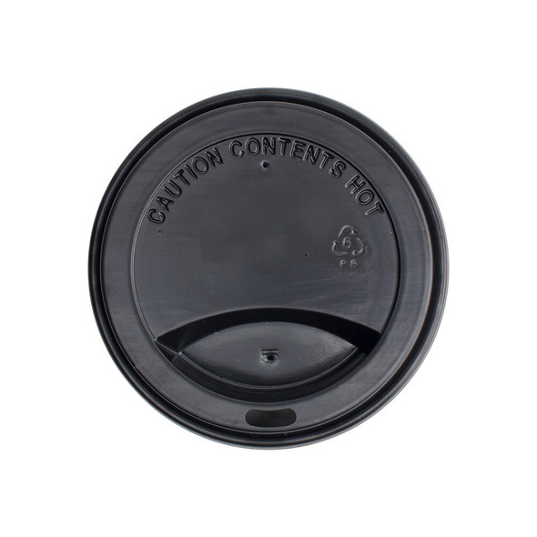 10-24oz Hot Sipper Dome Lids 90mm - Black 1000ct - Frozen Solutions