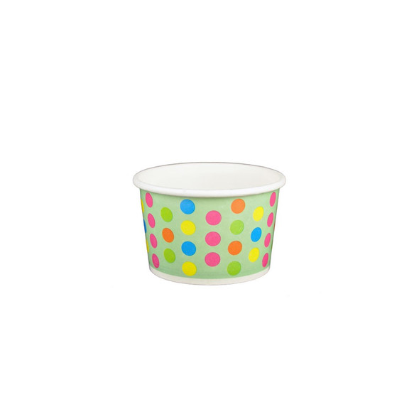 4oz Ice Cream/Froyo Cups 76mm Aqua/Multicolor Polka Dot 1000ct - Frozen Solutions