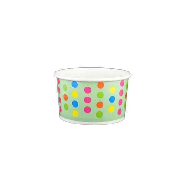 6oz Ice Cream/Froyo Cups 96mm Aqua/Multicolor Polka Dot 1000ct - Frozen Solutions