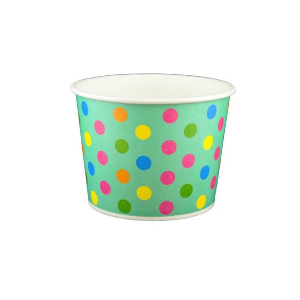12oz Ice Cream/Froyo Cups 102mm Aqua/Multicolor Polka Dot 1000ct - Frozen Solutions
