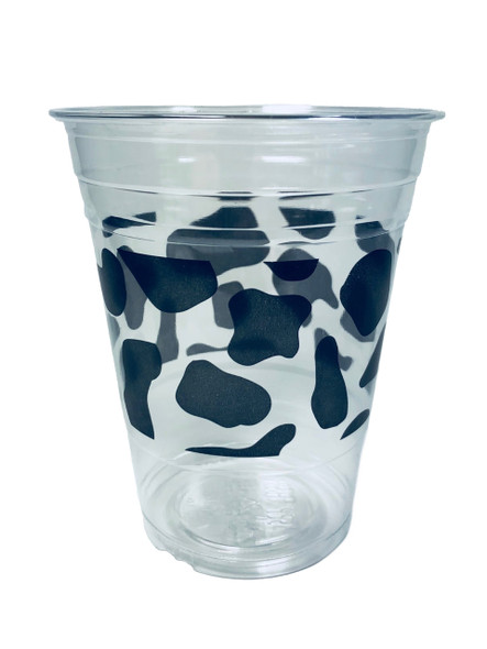 12oz Clear PET Cups  (98mm) - Cow Print   1000ct
