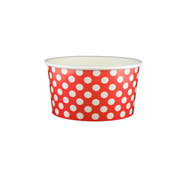 6oz Ice Cream/Froyo Cups 96mm 1000ct Red Polka Dot