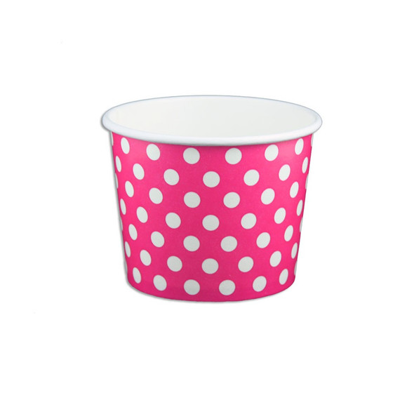 12oz Ice Cream/Froyo Cups 102mm 1000ct Pink Polka Dot - MADE IN THE USA