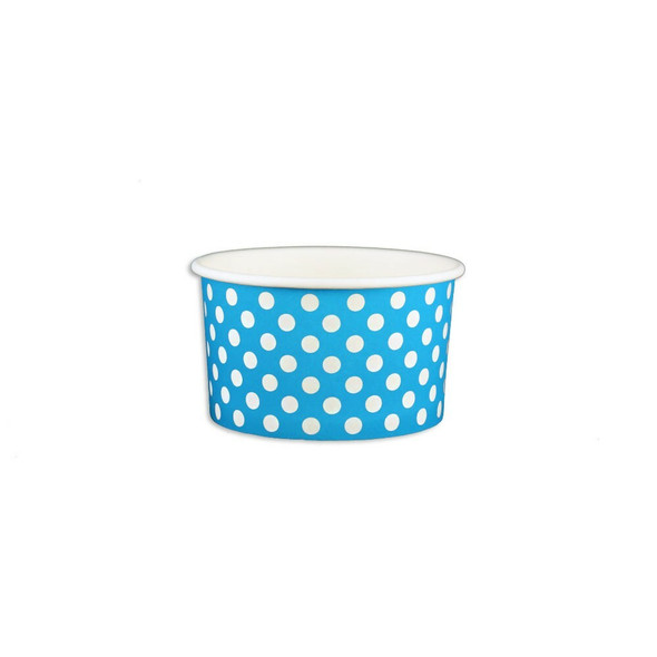 5oz Ice Cream/Froyo Cups 87mm 1000ct Blue Polka Dot, Made In The USA