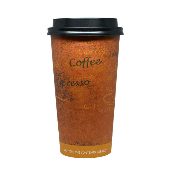 20oz  Hot Paper Cups Single Wall - Latte Print 600ct