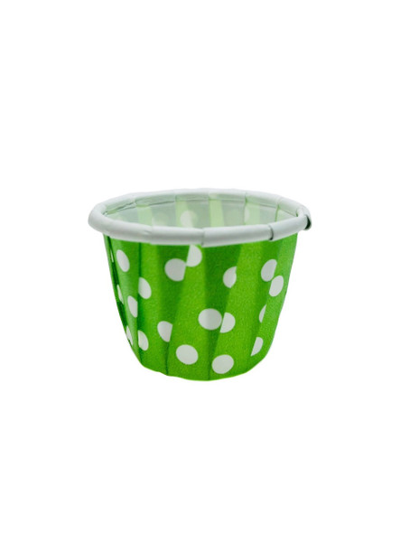 .5oz Paper Ice Cream / Froyo Sample Taster Cups 5000ct Grn/Wht Polka Dot