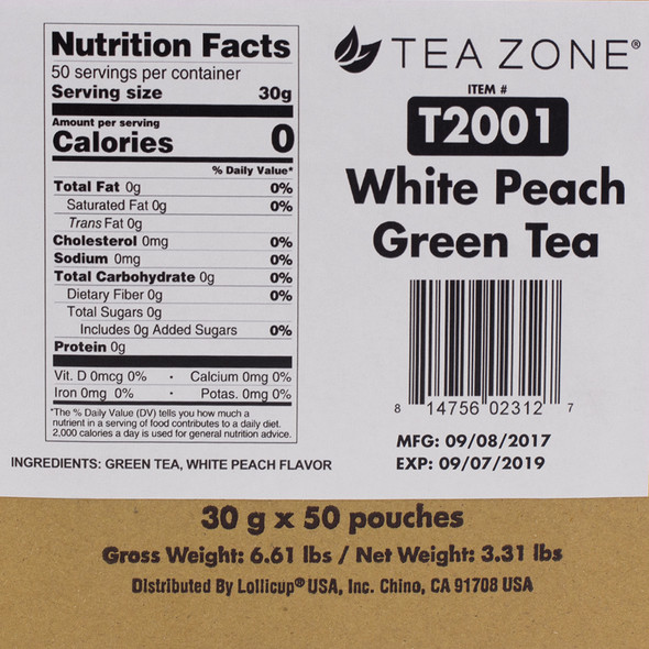 TeaZone White Peach Green Tea CASE