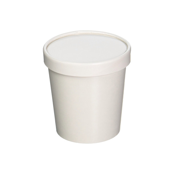Made In The USA - 16oz White Paper Ice Cream Pint Container w/ Non vented Lid 250ct